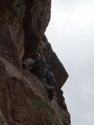 Rock Climbing Photo: Beginning the crux 4th pitch