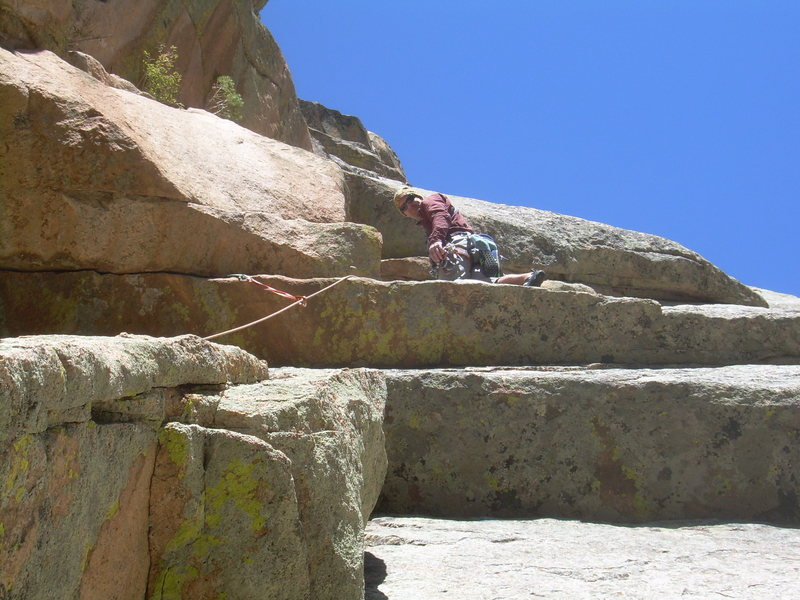 Rock Climbing Photo: Up onto the 2nd pitch slab at the 5.9+++ friction ...