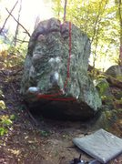 Rock Climbing Photo: Line depicts the path of the problem
