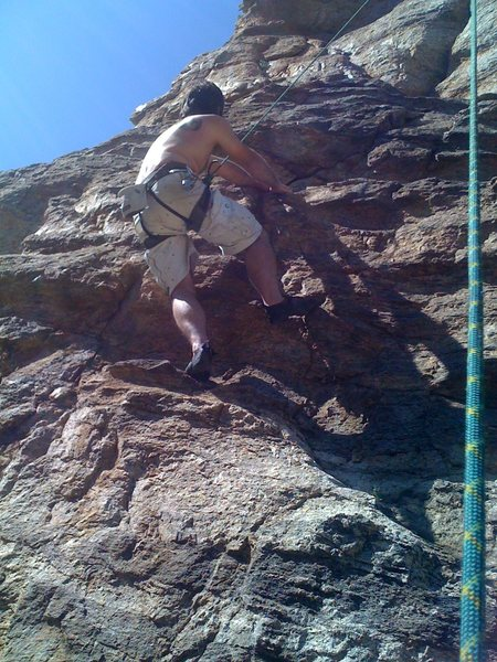 "Me climbing the lower section of ""Parole"" on TR."