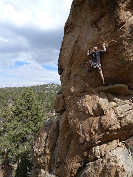 JJ on Mighty Quinn (5.10c), Holcomb Valley Pinnacles