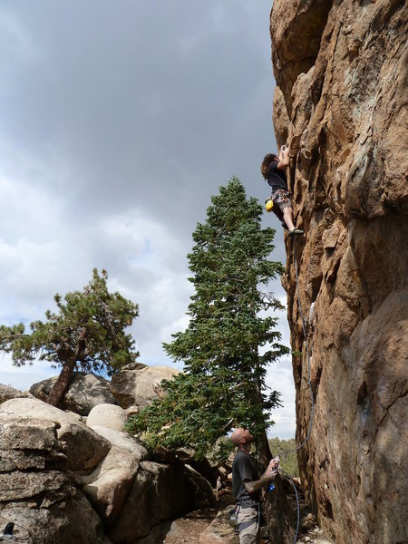 Joel past the crux on Reach for the Sky (5.10b), Holcomb Valley Pinnacles