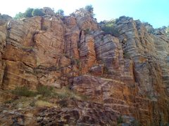 Rock Climbing Photo: Shorter cliffs between the tower in question and t...