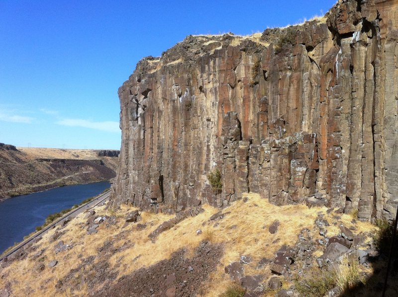 Rock Climbing Photo: West side of Face Canyon with the Boise River belo...