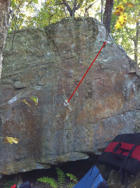 Rock Climbing Photo: red line depicts the general path of the problem