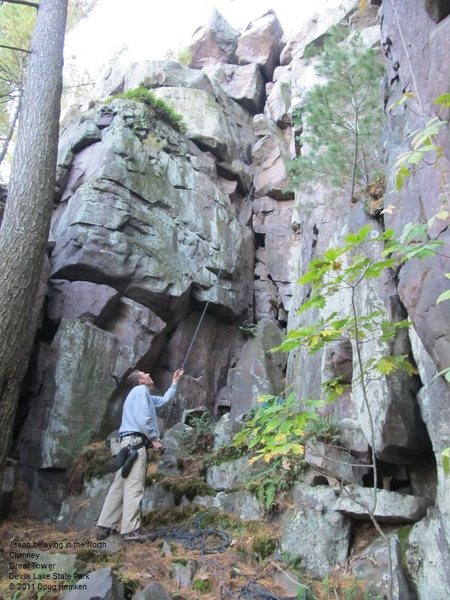 """Rock Climbing Photo: The North """"Chimney"""" is the obvious crack..."""
