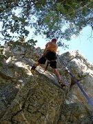 Rock Climbing Photo: Taco drytooling the route. Photo by Amanda C.