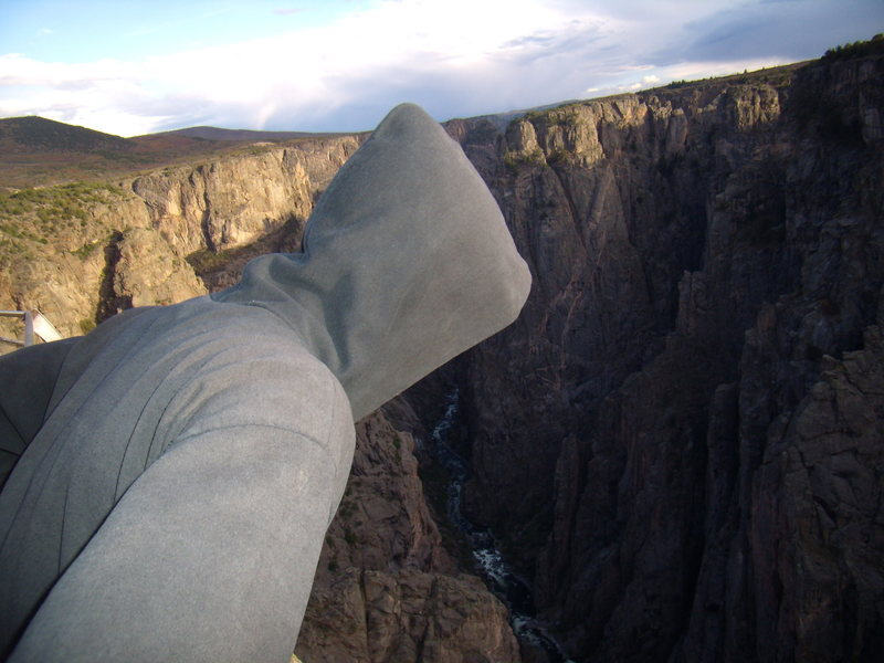 Rock Climbing Photo: Jordon in his Syth Lord costume peers down into th...