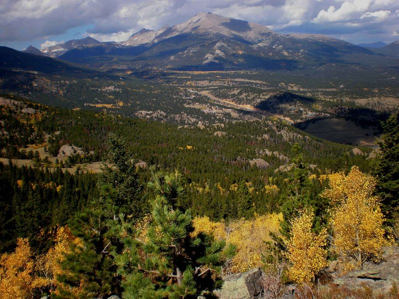 The view from Zappa's Tooth.  Allenspark is near the center of the shot.  Mt. Meeker and Wild Basin behind.