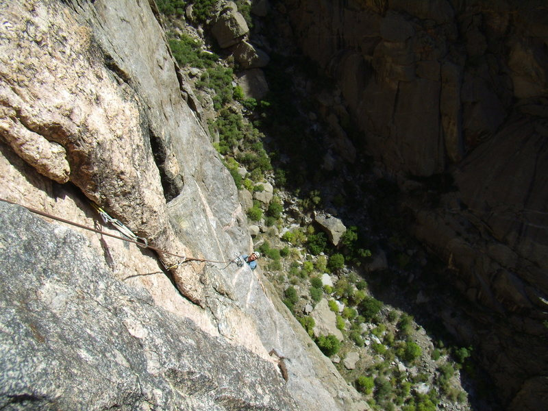 Alan following the Peg Traverse. Scenic Cruise.  Black Canyon.  Oct 2nd 2011.  With Jordon Griffler.