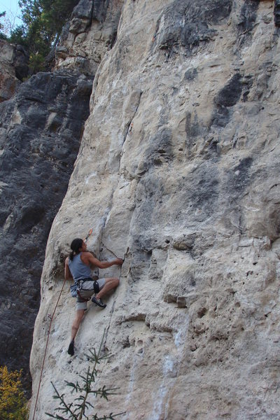 Rock Climbing Photo: Roof pull with a layback move to whatever you can ...