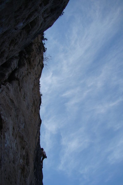 Breast Pump, 5.11b<br> The Darkside.<br> Spearfish Canyon, South Dakota.