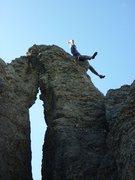 Rock Climbing Photo: Aaron riding the buttonhole.  Uhh...