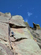 "Rock Climbing Photo: Garrett cruising through thin finger on ""The ..."
