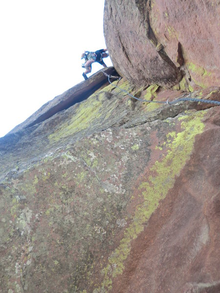 Rock Climbing Photo: Nearing top out of Consolation Prize, picture from...