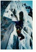 Climbing Fafnir in the early '90s. The Black Dike was busy and the ice was good, so we went for it.