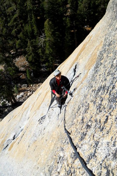 Belay at the top of the long first pitch.