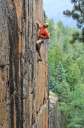 Rock Climbing Photo: Alex on the upper face below the roof. Clear Cut (...