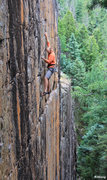 Rock Climbing Photo: Climbing the crack in the upper orange face. Clear...