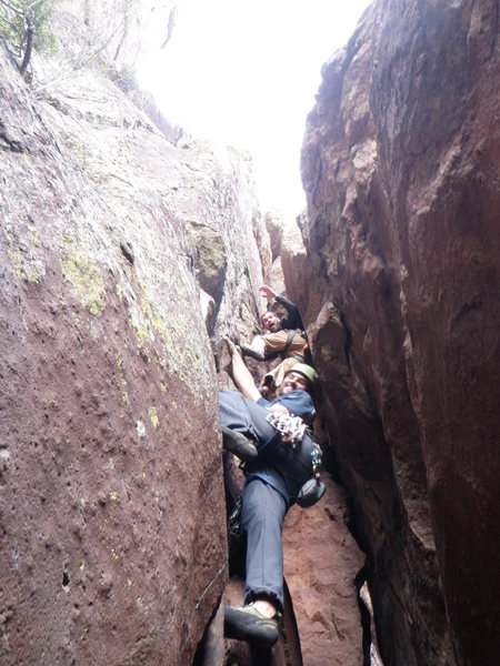Rock Climbing Photo: Andy and Josh simalsolo the HC.