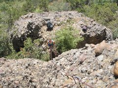 Rock Climbing Photo: Megan belaying pitch 1