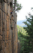 Rock Climbing Photo: Moving out of the corner to the finish over the ro...