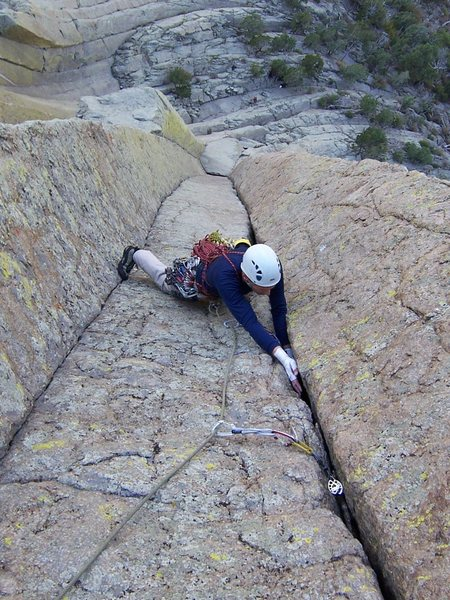 Rock Climbing Photo: Lew is following the sustained P2 of MWF...