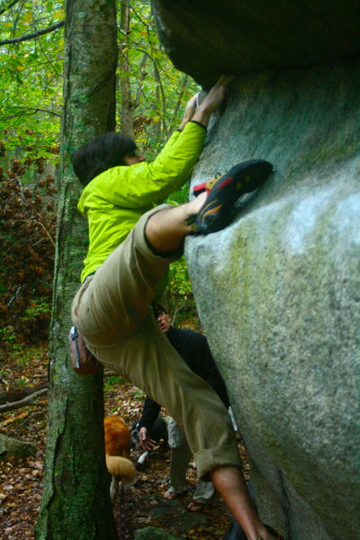Checking out Nick's Boulder with Nick.