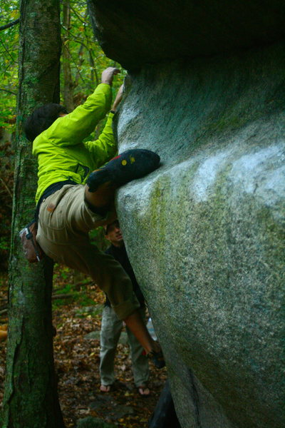 Rock Climbing Photo: Al toe hooking on the Nick boulder just as it star...