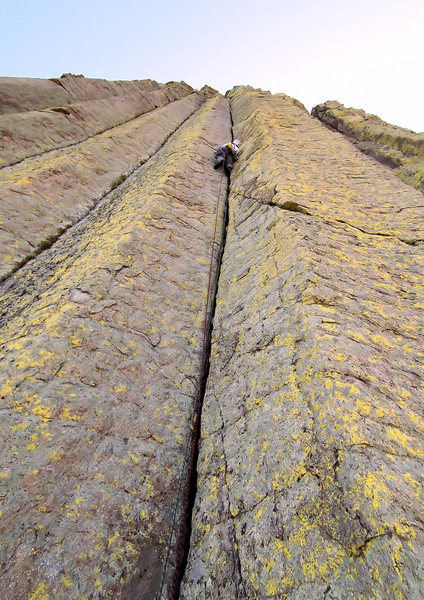 Fisting is fun???<br> <br> Lew on the long 160ft fist crack on P3...