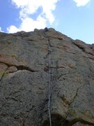 Rock Climbing Photo: Mike Colacino near the top of the pitch.  The &quo...