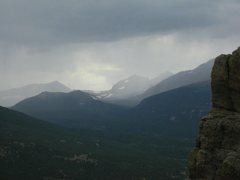 Rock Climbing Photo: Storms moving in over Zappa's Tooth.  The outline ...