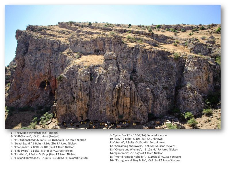 Rock Climbing Photo: Hells Canyon (right side) Topo