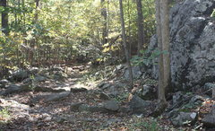 Rock Climbing Photo: look for big rock on right of trail and gutter and...
