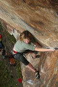 Rock Climbing Photo: lily on a tricky high foot, the crux of the upper ...