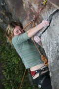 Rock Climbing Photo: lily pulls around the roof, harder than it looks a...