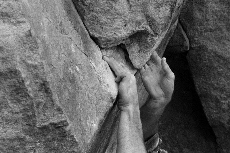 Rock Climbing Photo: jareds hands climbing rap echo... the rest of him ...