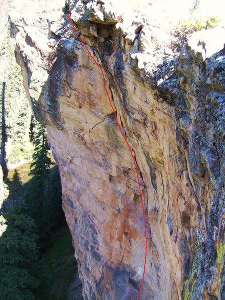 View of the upper third of Eastern Pleasures (5.11+).