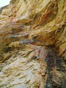 Rock Climbing Photo: View from the ground looking up.  The bottom 10 fe...
