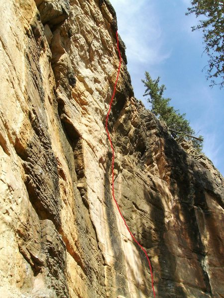 Refuse To Suffer (5.11+).  Left-trending route to a bulge.