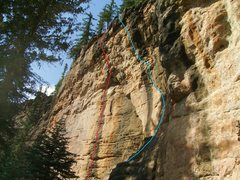 Rock Climbing Photo: Red- Winning Streak (5.11c). Blue- Refuse To Suffe...