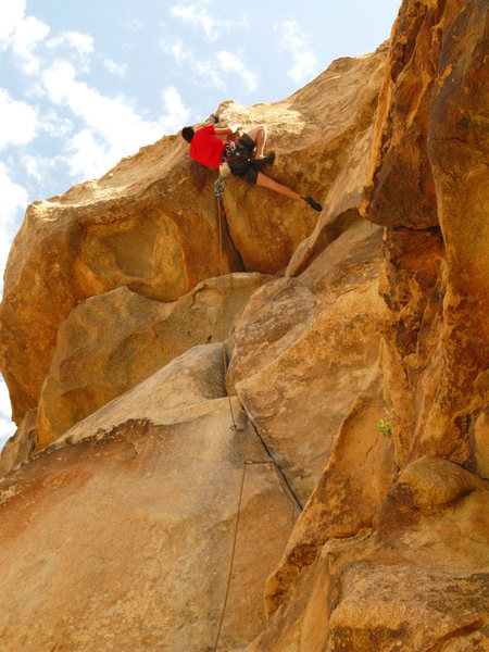 leading 'rollerball'.  10+ or 11- i cant remember.  fun roof.  the short arete to the left is an awesome route!