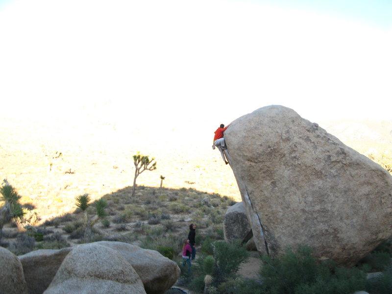 Rock Climbing Photo: white rastafarian V3R.  mantling 20 feet directly ...