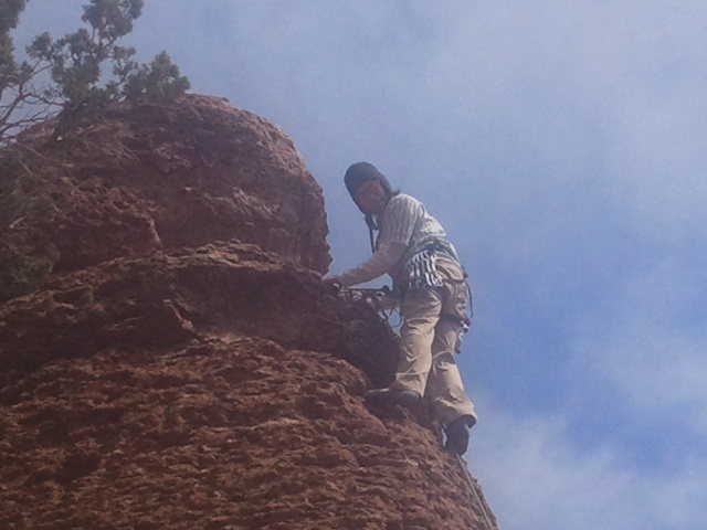 Ant on his first outdoor climb/first ever lead.