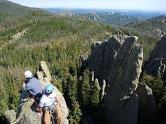Rock Climbing Photo: Jay and Aaron near the summit of the Sickle.  Mt. ...