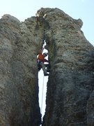Rock Climbing Photo: CE on the buttonhole route.  Loved it.