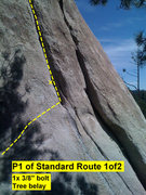 Rock Climbing Photo: Beta: first half of pitch 1 of Standard Route.