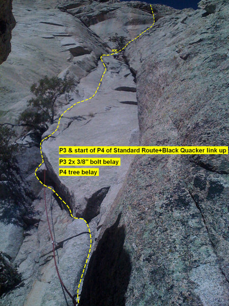 Beta: pitch 3 and start of pitch 4 of Standard Route-Black Quacker link up.