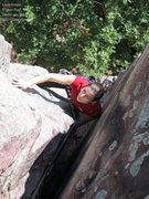 Rock Climbing Photo: Pausing in the offwidth