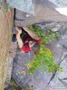 Rock Climbing Photo: Laura begins the crux